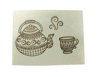 Tea Pot and Tea Cup Blank Cards Set of Five