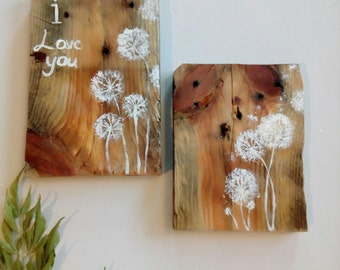 Dandelion art on Reclaimed wood set