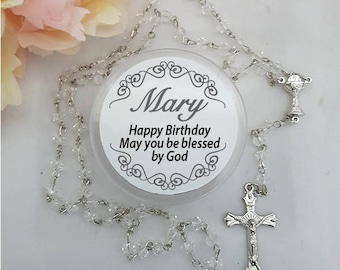 Clear Crystal Rosary Beads - Birthday Gift