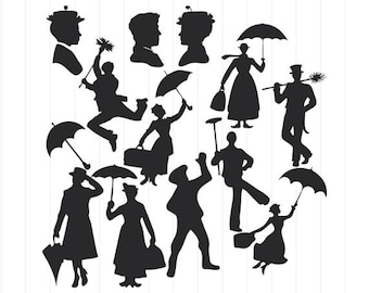 INSTANT DOWNLOAD - Mary Poppins Silhouettes, Mary Poppins Svg Cut Files, Mary Poppins Clipart, Mary Poppins Svg, Mary Poppins Characters