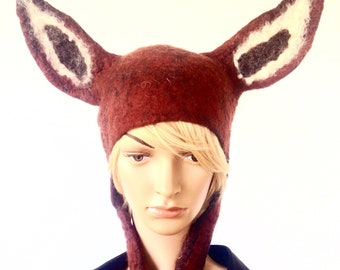 Deer Headdress female doe hat theatre costume bambi deer headwear for cosplay larp fancy dress in warm browns