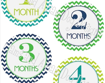 Monthly Milestone Stickers- Boys monthly bodysuit stickers- Baby month stickers- Monthly baby stickers- optional Gerber ONESIE- BOY168