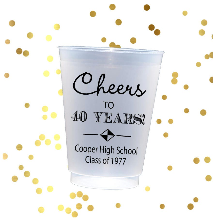High school reunion cups, class reunion favors, Personalized cups ...
