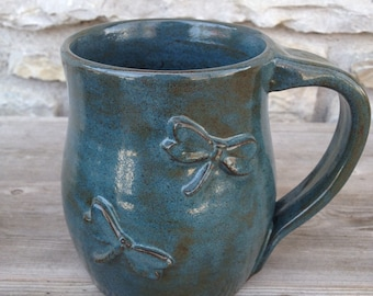 Dragonfly pottery mug with two dragonflies, wheel thrown pottery