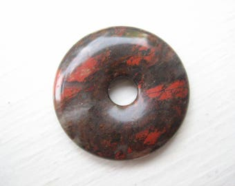 Brecciated red jasper donut, jasper donut pendant, 30mm jasper donut, 30mm gemstone, 30mm donut, soothing stone, pocket stone, worry stone
