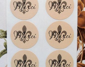 Stickers Thank You Merci Fleur de lis Envelope Seals Wedding Sticker Party Favor Treat Bag  SP011