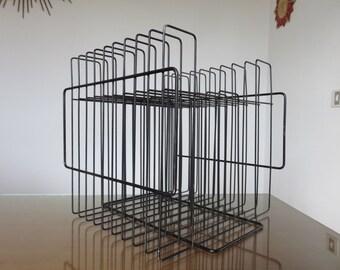 Rack vinyl modernist minimalist lacquered black metal mid century 1960's 60's vintage vinyl record rack