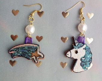 Blue Unicorn Earrings