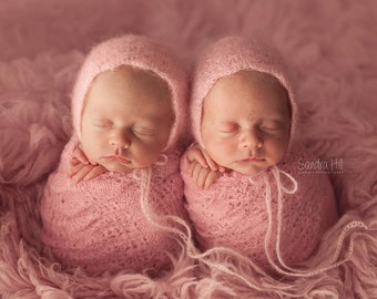 PDF Crochet Pattern - newborn photography prop dainty blossom mohair bonnet #92