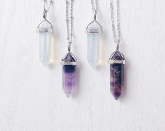 Gemstone Point Pendant Necklace | Amethyst Point Necklace | Satellite Chain Necklace | Opalite Bohemian Necklace