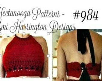halter top, crochet pattern, easy pattern includes size: S, M,L,XL,XXL, #984-, teen and women's clothing, summer top, beach wear,