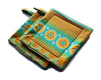 Handmade Pot Holders Set of Turquoise Yellow Indian Design Potholders