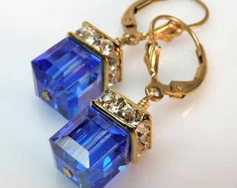 Royal Blue Crystal Earrings, Gold Filled, Sapphire Swarovski Crystal Cube Earrings, Bridesmaid Earrings, Wedding Jewelry, September Birthday