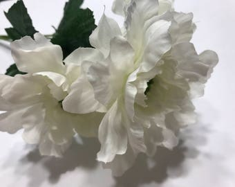 5 large bloom white poppy boquet, 13 inch long