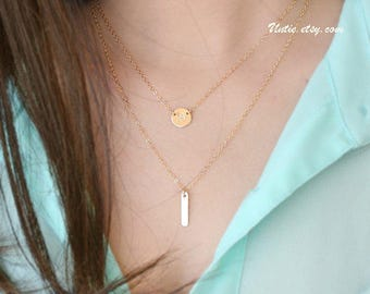 Bar Necklace long small layer cute initial Disk necklace 14k gold filled set of 2, engraved personalized necklace, tiny dangling necklace