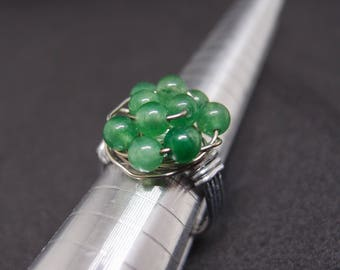 Copper wire wrapped ring with aventurine stone