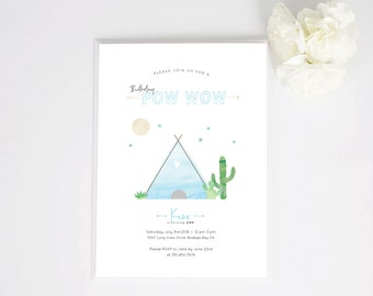 Pow Wow Baby Shower Invite or Birthday Invite | Blue, Cactus, Teepee, Full Moon