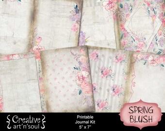 Printable Journal Kit, 5x7, Memory Keeping Journal, Digital Journal Kit, Junk Journal, Spring Blush