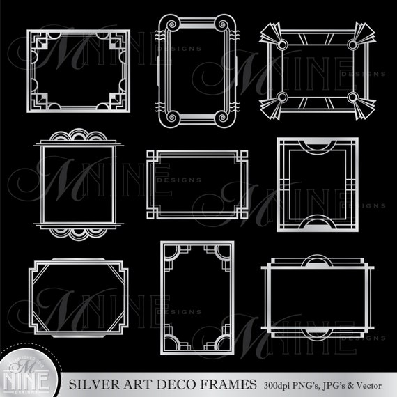I Designed A Vintage Looking Border Art For You To Use In: Silver ART DECO FRAMES Clip Art: Art Deco Frame Clipart