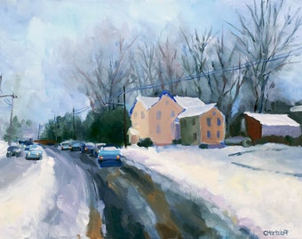 Snow Day Winter Original Landscape Oil Painting on Canvas