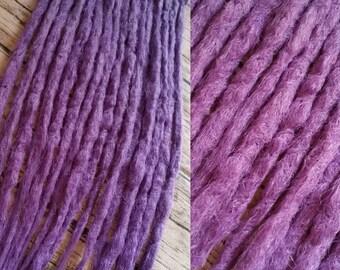 10 Medium Purple Knotty Backcombed Synthetic Dreads