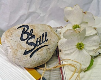Be Still Engraved Paperweight Stone