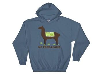 No Prob Llama Alpaca No Problem Hooded Sweatshirt