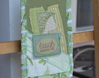 Light Green Doorknob Hanging Art Quilt - Laugh