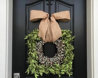 NEW Boxwood Square Wreath, Square Boxwood Wreath, Square Wreath, Front Door Wreath, Spring/Summer Wreath, Modern Wreath, Cream Berry Wreaths