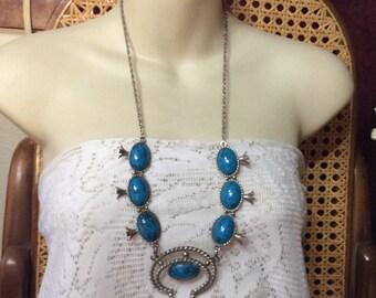 Vintage squash blossom necklace, faux turquoise.