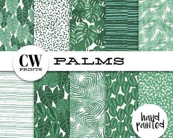 Palm Prints Digital Paper Pack: 12x12 inch paper, 10 painted palms, palm print, banana palms, Digital Background Paper, Digital Printables,