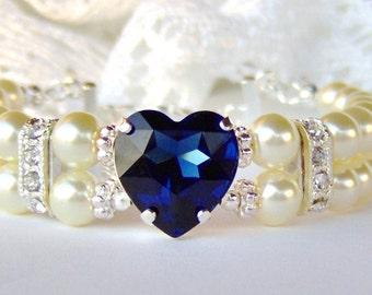 Deep blue sapphire heart rhinestone bracelet / Double strand pearl bracelet / gift for her / September birthstone / ivory pearl / white