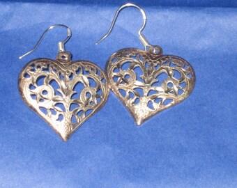 Romantic Heart Earrings, Sterling Silver Filigree Pattern, Romantic, Filigree, Pierced Sterling Hearts, Dangle Heart Earrings