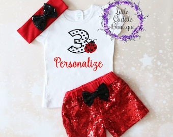 Personalized Ladybug Birthday Outfit, Toddler Birthday Outfit, Ladybug Outfit, Ladybug Shirt, Ladybug Party, Ladybug Birthday, Birthday
