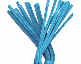 10 x 30cm Blue pipe cleaner chenille yarn