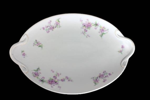 Antique Oval Platter, B S Austria, Lavender Flowers, Handled, Embossed