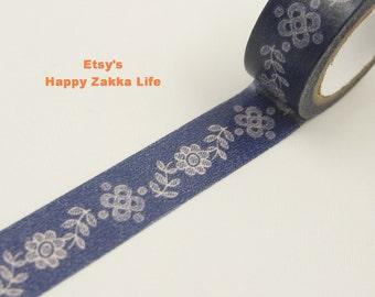 Japanese Washi Masking Tape - Flower Border with Navy Blue - 5.5 Yards