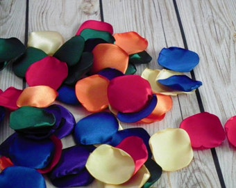 Rainbow satin rose petals; red, orange, butter, dark green, royal blue, purple, artificial multicolor flower petals, made to order
