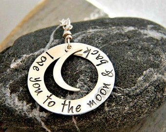 love you to the moon and back, hand stamped sterling