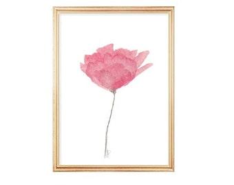 Pink Tulip, Pink Flower, Watercolor Flower, 5x7 Print,Contemporary Floral Art, Pink Watercolor Flower, Pink Nursery Art, Watercolor Painting