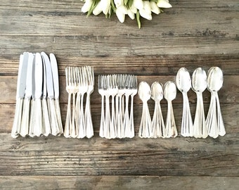 Place setting for 12 Silver plated Flatware set 1847 Rogers Bros