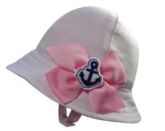 Lightweight Cotton Sun Hat for Baby Girls with Chinstrap and Removable Nautical Anchor Bow
