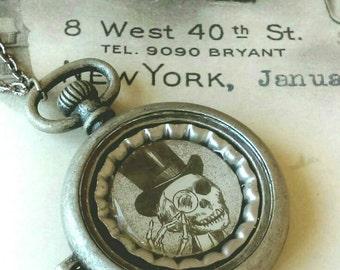 Steampunk skeleton long necklace w/ bottle cap insert