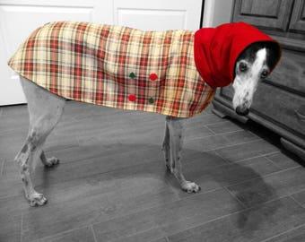 Christmas Coat for Greyhound with snood(Medium)  Plaid fabric, fleece lining