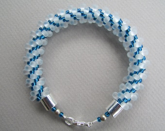 Frosted White and Sky Blue Kumihimo Bracelet