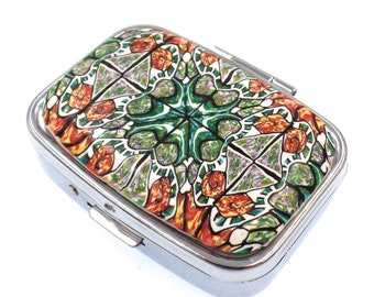 Unique, Colorful 2 Compartment Polymer Clay Covered Pill Box, Pill Case