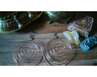 Large Spiral Earrings (copper)