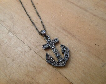 Hematite Rhinestone Anchor Necklace - Anchor Necklace