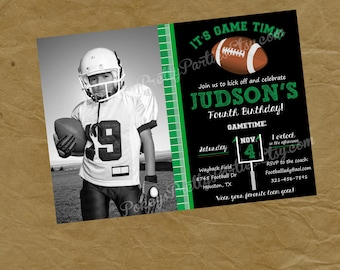 Photo FOOTBALL Birthday Party Invitation Invite - Picture Foot Ball Sports - Digital Personalized File to Print