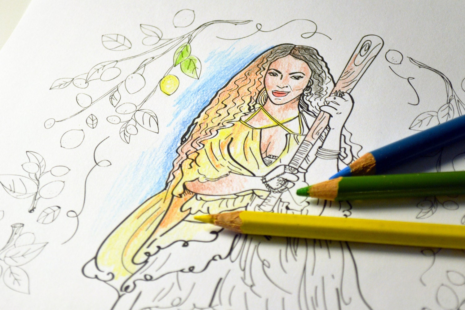 Printable Coloring Pages Disney Pdf : Beyonce lemonade adult coloring sheet printable art print